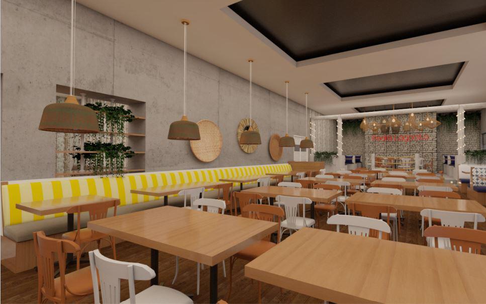 Um visual do que será o salão interno do restaurante Pedra Lagosta.